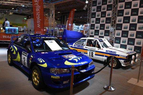 Subaru Impreza WRC and Ford Escort.Autosport International Show, NEC, Birmingham, England, 8 January 2015.