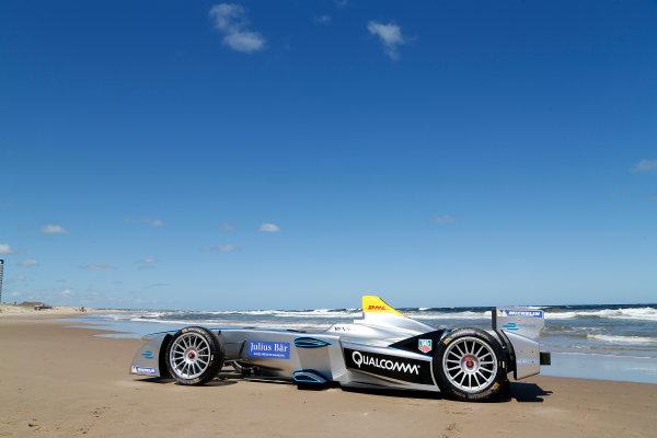 FIA Formula E Test Day. Formula E Car on the beach. Punta Del Este, Uruguay, South America. Formula E Third Race Event, 11th - 14th December 2014. Sunday 14 December 2014.  Photo: Adam Warner/LAT/FE ref: Digital Image _L5R5054