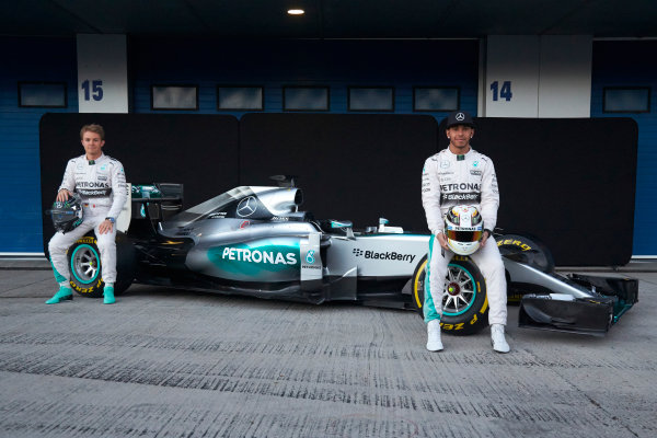 2015 F1 Pre Season Test 1 - Day 1 Circuito de Jerez, Jerez, Spain. Sunday 1 February 2015. Nico Rosberg, Mercedes AMG, and Lewis Hamilton, Mercedes AMG, launch the Mercedes W06. World Copyright: Steve Etherington/LAT Photographic. ref: Digital Image SNE26247