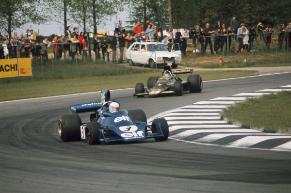 1974 Belgian Grand Prix  Nivelles-Baulers, Belgium. 10-12th May 1974.  Jody Scheckter, Tyrrell 007 Ford, leads Ronnie Peterson, Lotus 76 Ford.  Ref: 74BEL06. World Copyright: LAT Photographic