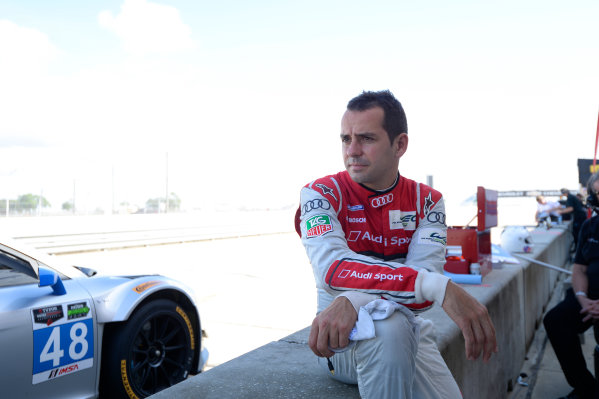 16-17 November, 2013, Sebring, Florida Benoit Treluyer sits in the pits of the #48 Paul Miller Racing Audi R8. @2013 Richard Dole LAT Photo USA
