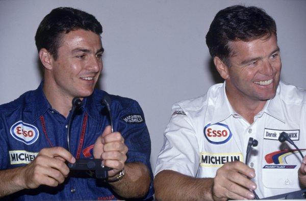 1992 Le Mans 24 Hours. Le Mans, France. 20th - 21st June 1992. Mark Blundell (Peugeot 905 Evo 1) with team mate Derek Warwick, 1st position, portrait. World Copyright: LAT Photographic. Ref: 92LM03