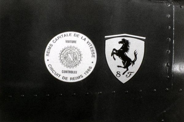 1966 French Grand Prix.Reims, France. 3 July 1966.Ferrari and Reims Capitale de la Vitesse logos.World Copyright: LAT Photographic