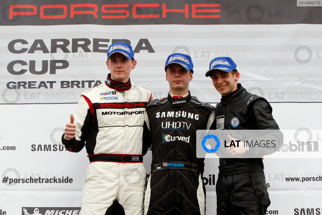 2014 Porsche Carrera Cup Great Britain,Brands Hatch, 29th-30th March 2014, Podium,Webster,Meadows and HillWorld copyright. Jakob Ebrey/LAT Photographic
