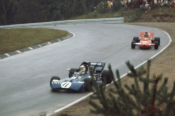 1971 Canadian Grand Prix.  Mosport, Canada. 17-19th September 1971.  Jackie Stewart, Tyrrell 003 Ford, 1st position, leads Ronnie Peterson, March 711 Ford, 2nd position.  Ref: 71CAN13. World Copyright: LAT Photographic