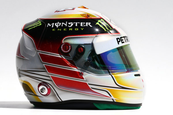 Albert Park, Melbourne, Australia. Thursday 13 March 2014. The helmet of Lewis Hamilton (GBR) Mercedes AMG F1. World Copyright: xpb Images/LAT Photographic. ref: Digital Image 2014helmets08