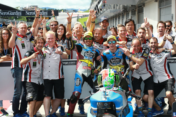 2017 Moto2 Championship - Round 11 Spielberg, Austria Sunday 13 August 2017 Franco Morbidelli, Marc VDS, Alex Marquez, Marc VDS celebrate with the team World Copyright: Gold and Goose / LAT Images ref: Digital Image 686837