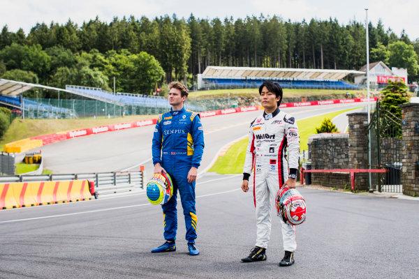 2017 FIA Formula 2 Round 8. Spa-Francorchamps, Spa, Belgium. Thursday 24 August 2017. Oliver Rowland (GBR, DAMS) and Nobuharu Matsushita (JPN, ART Grand Prix).  Photo: Zak Mauger/FIA Formula 2. ref: Digital Image _56I0261