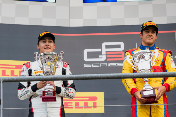 2017 GP3 Series Round 5.  Spa-Francorchamps, Spa, Belgium. Sunday 27 August 2017. George Russell (GBR, ART Grand Prix), Giuliano Alesi (FRA, Trident).  Photo: Zak Mauger/GP3 Series Media Service. ref: Digital Image _56I3081