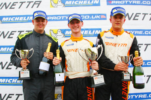 2017 Ginetta GT5 Challenge, Donington Park, Leicestershire. 23rd - 24th September 2017. Podium (l-r) Ryan Hadfield, Lewis Brown, Max Bird. World Copyright: JEP/LAT Images