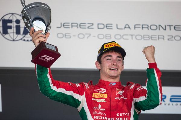 2017 FIA Formula 2 Round 10. Circuito de Jerez, Jerez, Spain. Saturday 7 October 2017. Charles Leclerc (MCO, PREMA Racing) on the podium. Photo: Andrew Ferraro/FIA Formula 2. ref: Digital Image _FER2254