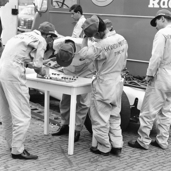 1964 German Grand PrixNurburgring, Germany. 31st July - 02nd AugustHonda take part in their first Grand Prix.World Copyright - LAT Photographic ref: B&W Negative Image no. 25897