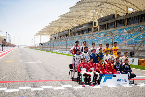 2017 FIA Formula 2 Round 1. Bahrain International Circuit, Sakhir, Bahrain.  Thursday 13 April 2017. Class photo on the grid. Photo: Sam Bloxham/FIA Formula 2. ref: Digital Image _J6I8304