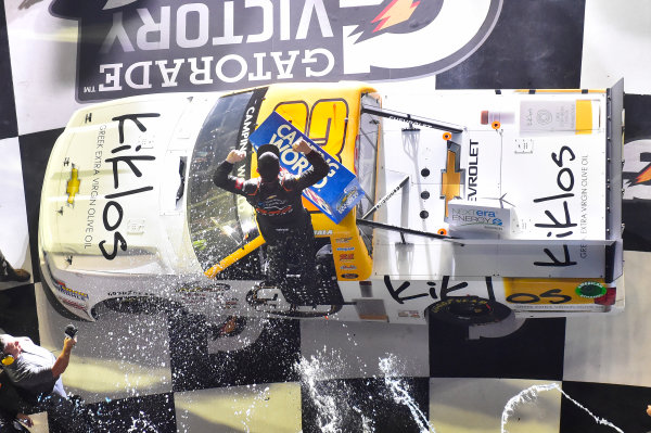 2017 Camping World Truck - NextEra Energy Resources 250 Daytona International Speedway, Daytona Beach, FL USA Friday 24 February 2017 Kaz Grala celebrates his win in Victory Lane World Copyright: Nigel Kinrade/LAT Images ref: Digital Image 17DAY2nk09928