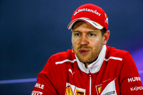 Bahrain International Circuit, Sakhir, Bahrain.  Sunday 16 April 2017. Sebastian Vettel, Ferrari, 1st Position, in the Press Conference. World Copyright: Sam Bloxham/LAT Images ref: Digital Image _J6I2485