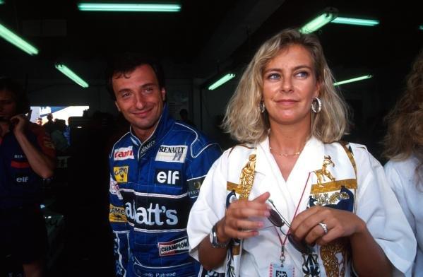 Riccardo Patrese (ITA) Williams Renault FW14 - Winner - and his wife Suzy Portuguese Grand Prix, Estoril, 22 September 1991