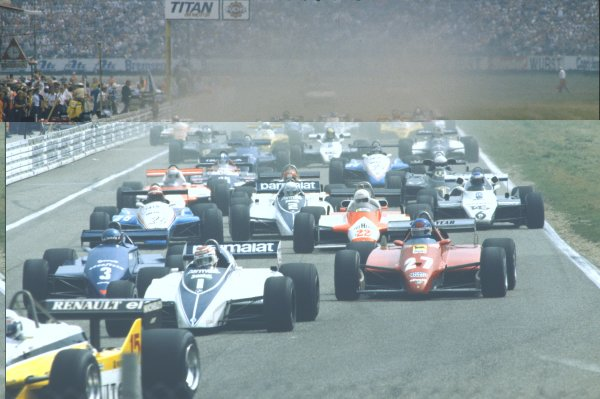 1982 German Grand Prix.Hockenheim, Germany.6-8 August 1982.Rene Arnoux and Alain Prost (both Renault RE30B's) lead the field away at the start.Ref-82 GERWorld Copyright - LAT Photographic