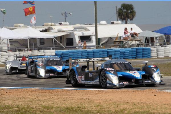 16-22 March, 2009, Sebring, Florida USA.#07 & #08 Team Peugeot Total followed by #2 Audi.©2009 Dan R. Boyd USA LAT Photographic.