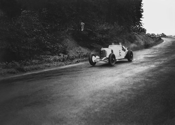 Nurburgring, Germany. 19th July 1931. Rudolf Caracciola (Mercedes-Benz SSKL) and his mechanic,Wilhelm Sebastian, 1st position, action.  World Copyright: LAT Photographic. Ref:  Autocar Glass Plate B6819.