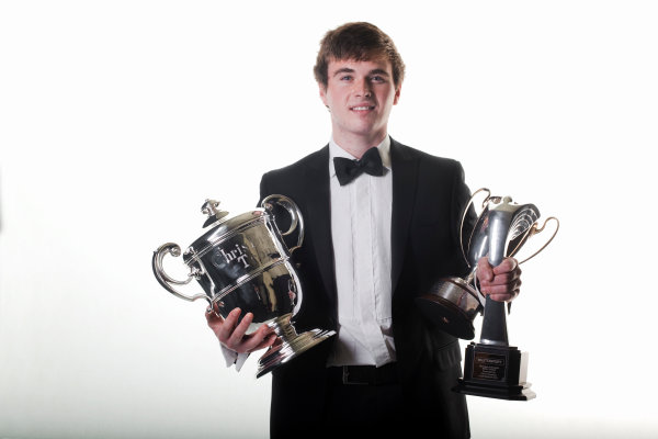 Grosvenor House Hotel, Park Lane, London 4th December 2011 McLaren Autosport BRDC Young Driver of the Year Award winner Oliver Rowland with his trophies. Portrait.World Copyright: Malcolm Griffiths/LAT Photographic ref: Digtal Image MG5D7489