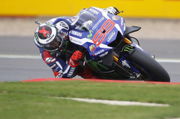 2016 MotoGP Championship.  British Grand Prix.  Silverstone, England. 2nd - 4th September 2016.  Jorge Lorenzo, Yamaha.  Ref: _W7_6140a. World copyright: Kevin Wood/LAT Photographic