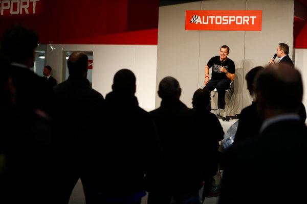 Autosport International Exhibition. National Exhibition Centre, Birmingham, UK. Friday 12th January 2018. John McGuinness to Henry Hope-Frost on the Autosport Stage. World Copyright: Glenn Dunbar/LAT Images Ref: _31I3024