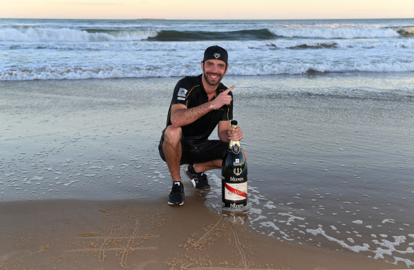 Jean-Eric Vergne (FRA), TECHEETAH, Renault Z.E. 17, celebrates on the beach