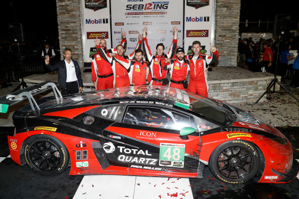 #48 Paul Miller Racing Lamborghini Huracan GT3, GTD: Madison Snow, Bryan Sellers, Bryce Miller, podium
