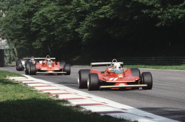 Monza, Italy. 9th September 1979.Jody Scheckter (Ferrari 312T4), 1st position, leads teammate Gilles Villeneuve (Ferrari 312T4), 2nd position, action. World Copyright: LAT Photographic.Ref: 79ITA22