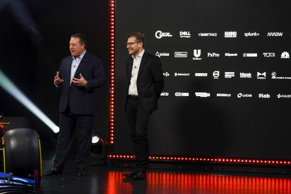 Zak Brown, CEO, McLaren Racing and Andreas Seidl, Team Principal, McLaren, on stage at the launch of the McLaren MCL35