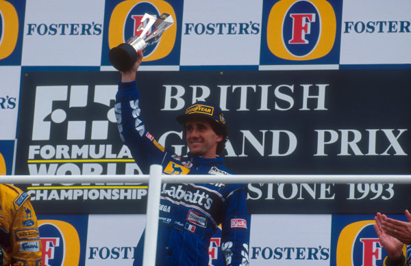 1993 British Grand Prix.Silverstone, England.9-11 July 1993.Alain Prost (Williams Renault) 1st position on the podium.Ref-93 GB 09.World Copyright - LAT Photographic
