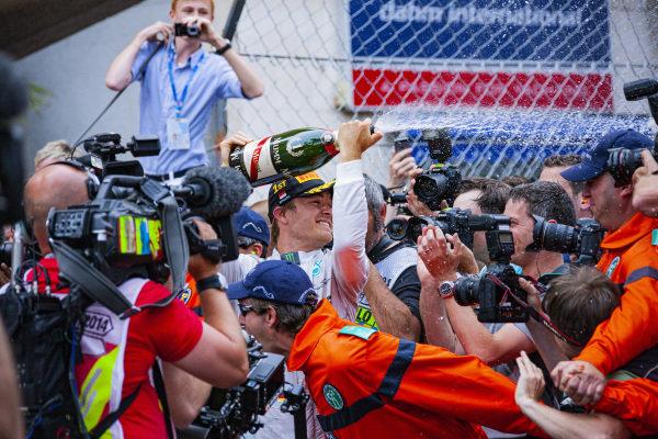 Nico Rosberg celebrates victory.