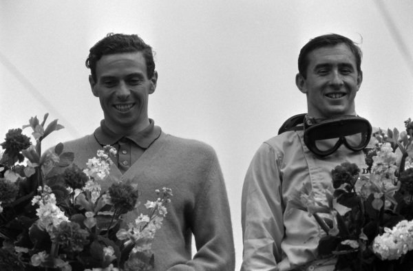 Race winner Jim Clark and Jackie Stewart, 2nd position, on the podium.