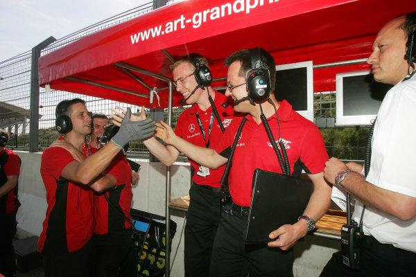 Zandvoort, Holland. 5th - 6th June 2010.ART Grand Prix celebrate pole position for Alexander Sims (GBR) ART Grand Prix Dallara Mercedes.World Copyright: Ebrey/LAT Photographic.