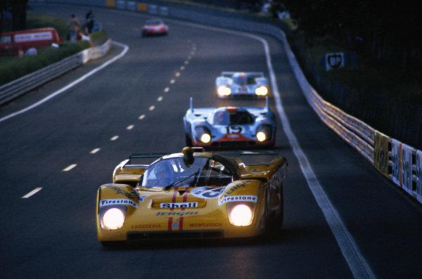 Nino Vaccarella / Jose Juncadella, Escuderia Montjuich, Ferrari 512 M, leads Richard Attwood / Herbert Mueller, J. W. Automotive Engineering, Porsche 917 K and Pedro Rodriguez / Jackie Oliver J. W. Automotive Engineering, Porsche 917 LH.