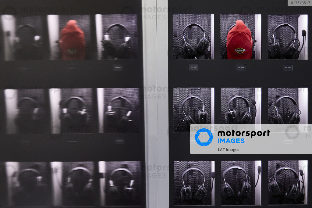 Mercedes AMG F1 team headset with a red Parmalat cap in memory of Niki Lauda, Non-Executive Chairman, Mercedes AMG F1