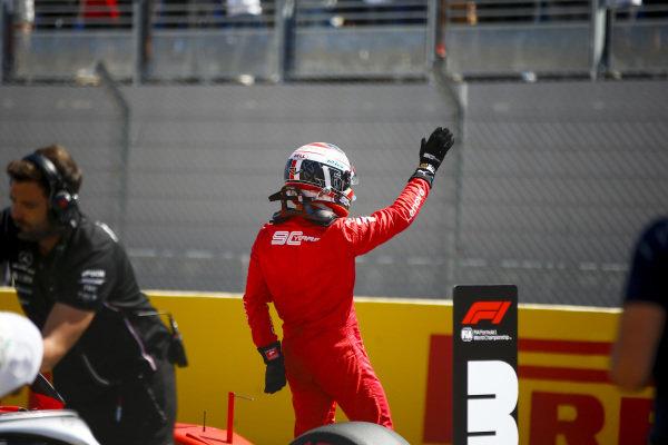 Charles Leclerc, Ferrari celebrates in Parc Ferme