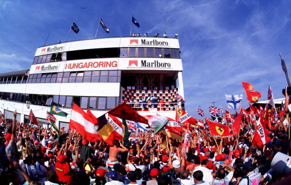 1995 Hungarian Grand Prix.Hungaroring, Budapest, Hungary.11-13 August 1995.Damon Hill, David Coulthard (both Williams FW17 Renault) and Gerhard Berger (Ferrari 412T2) finished in 1st, 2nd and 3rd positions.World Copyright - LAT Photographic