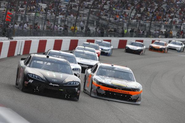 #54: Ty Gibbs, Joe Gibbs Racing, Toyota Supra Joe Gibbs Racing, #9: Noah Gragson, JR Motorsports, Chevrolet Camaro Bass Pros Shops/TrueTimber/BRCC
