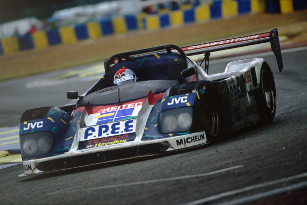 Le Mans, France.  17-18th June 1995.  Mario Andretti, (Courage Porsche), shared with Bob Wollek and Eric Helary, action.  World Copyright: LAT Photographic  Ref: 95LM02