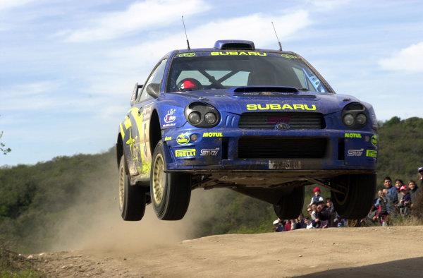 2001 World Rally Championship. ArgentinaMay 3rd-6th, 2001Richard Burns jumps on stage 13.Photo: Ralph Hardwick/LAT