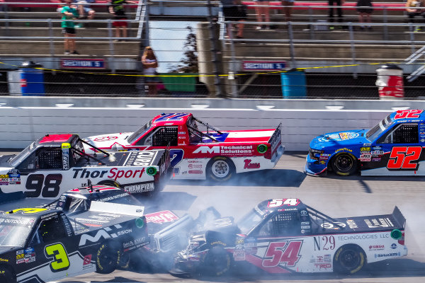 #17: Tyler Ankrum, DGR-Crosley, Toyota Tundra May's Hawaii, #4: Todd Gilliland, Kyle Busch Motorsports, Toyota Tundra JBL, #15: Anthony Alfredo, DGR-Crosley, Toyota Tundra The Precision Difference / Oxford Energy Group / Meccanic / ASDC, #54: Natalie Decker, DGR-Crosley, Toyota Tundra N29 Technologies LLC wreck