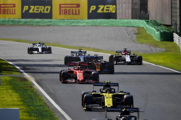 Nico Hulkenberg, Renault R.S. 19, Charles Leclerc, Ferrari SF90, Carlos Sainz Jr., McLaren MCL34, Kimi Raikkonen, Alfa Romeo Racing C38, Lewis Hamilton, Mercedes AMG F1 W10 and Valtteri Bottas, Mercedes AMG W10