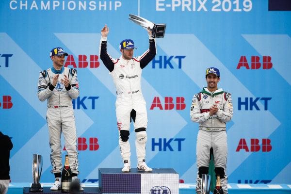 Race winner Sam Bird (GBR), Envision Virgin Racing celebrates on the podium alongside Edoardo Mortara (CHE) Venturi Formula E, 2nd position, and Lucas Di Grassi (BRA), Audi Sport ABT Schaeffler, 3rd position