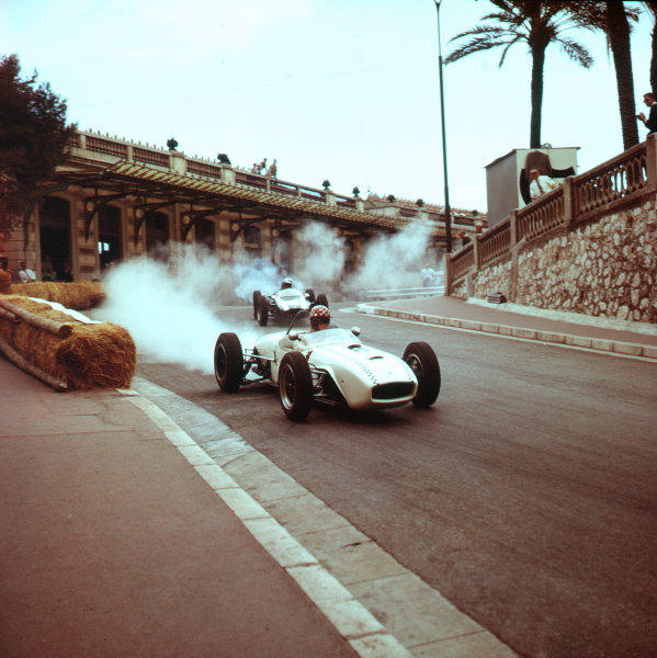 1961 Monaco Grand Prix.Monte Carlo, Monaco.11-14 May 1961.Michel May (Lotus 18 Climax) retires from the race.Ref-3/0262.World Copyright - LAT Photographic