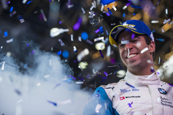 Antonio Felix da Costa (PRT), BMW I Andretti Motorsports, 2nd position, celebrates on the podium