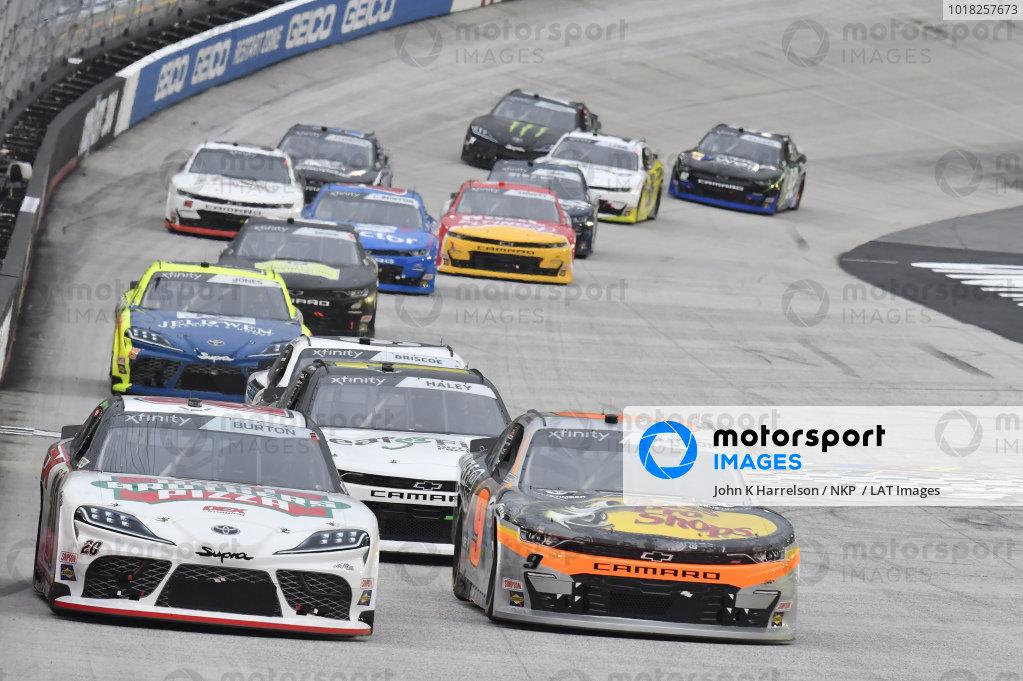 #20: Harrison Burton, Joe Gibbs Racing, Toyota Supra Hunt Brothers Pizza/DEX Imaging, #9: Noah Gragson, JR Motorsports, Chevrolet Camaro Bass Pro Shops/TrueTimber Camo
