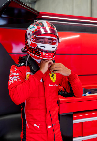 Charles Leclerc, Ferrari SF1000 in the garage