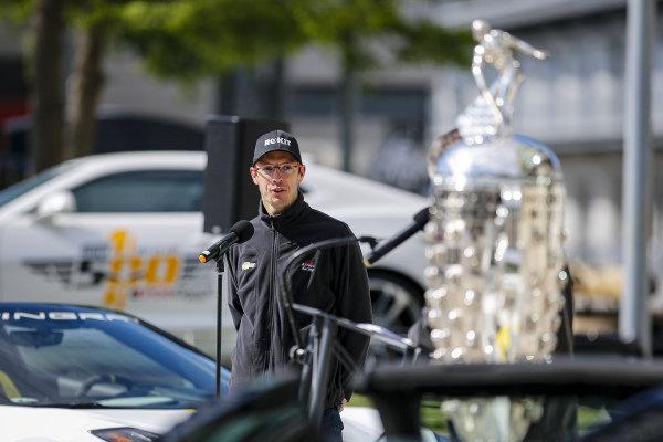 #14: Sebastien Bourdais, A.J. Foyt Enterprises Chevrolet at the driver's meeting