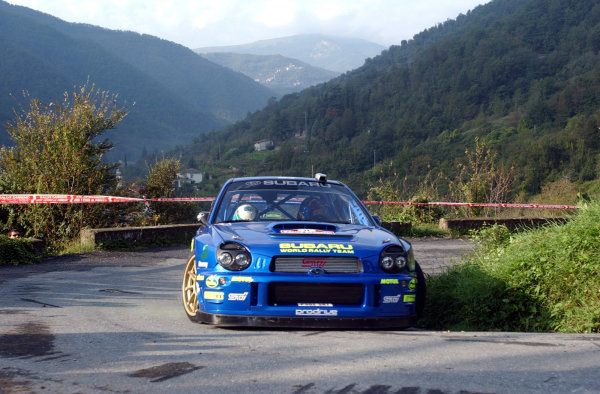 2002 World Rally Championship.Rallye d'Italia, 20-22 September.Sanremo, Italy.Petter Solberg during shakedown.Photo: Ralph Hardwick/LAT